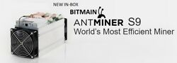 NEW IN STOCK - FACTORY SEALED BITMAIN ANTMINER S9 with APW3++ PSU  FREE SHIPPING $3,200.00