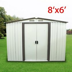 Garden 6'x8' Storage House Tool Shed Outdoor Steel Utility Yard Building Lawn EK