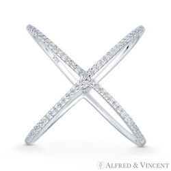 Criss-Cross CZ Crystal Right-Hand X-Ring .925 Sterling Silver w Rhodium Plating