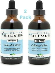 (2-Pack) Ultra Silver Colloidal Silver 500 PPM 4 oz. FREE SHIPPING 2-PACK!!!
