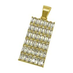 Gold Exotic Baguette Iced Out Dogtag For Chain
