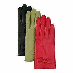 Luxury Lane Women's Cashmere Lined Lambskin Leather Gloves with Bow - Green