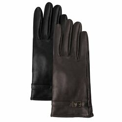 Luxury Lane Women's Cashmere Lined Lambskin Leather Gloves with Buckle - Medium