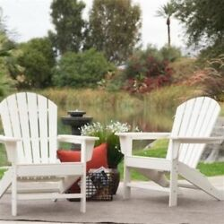 Outdoor Weather Resistant Patio Deck Garden Adirondack Chair in White Resin- Fre