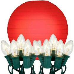 LumaBase Luminarias Electric String Lights With 10' Paper Lanterns 10-Count