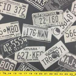 License Plate Tapestry Fabric  Black and White  54