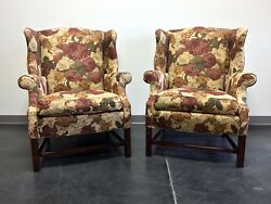 Straight Leg Chippendale Style Wing Back Chairs - Pair