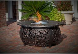 Fire Pit Outdoor Fireplace Propane Tank Stainless Steel Burner Clear Glass Cover