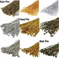 Wholesale SilverGold Plated EyeHead Pin Jewelry Making 203040506070mm DIY