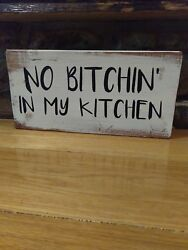 Kitchen sign rustic home decor hand made farmhouse primitive humor funny chic $12.99