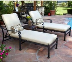 3pcs Patio Chaise Lounge Set 2 Outdoor Pool Chair and Side Table Fabric Cushion