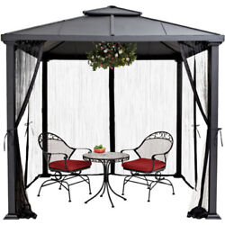 Hard Top Outdoor Gazebo 8 FT x 8 FT Metal Frame Black Canopy Patio Tent Shelter