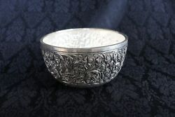 Unique Ornate Solid Silver Asian Handcrafts Exotic Bowl Embossed with Animal