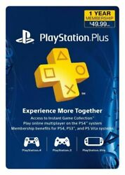 Sony PlayStation Plus 1 Year Membership Subscription Card USA Canada $34.99