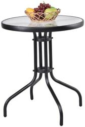 Small Patio Table Outdoor Round Glass Bistro Tables Black Metal Deck Furniture