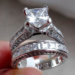 Womens Vintage White Sapphire Silver Plated Engagement Wedding Band Ring Set