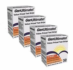 GenUltimate! Blood Glucose Strips 200 count- 4boxes of 50 Test Diabetic Aids