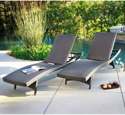 Patio Outdoor Chair Furniture Pool Palm Aire Woven Padded 2 Pack Chaise Lounge
