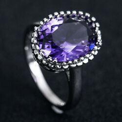 925 Silver Jewelry Oval Cut Purple Amethyst Women Wedding Ring Size 6-10