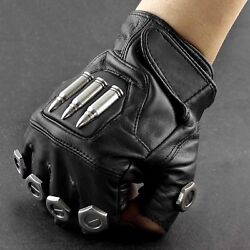 Steampunk Bullet Vintage Mens Fingerless Leather Gloves Cosplay Custome Party $19.00