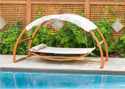 Adjustable Outdoor Garden Lawn Wooden Patio Swing Bed Furniture W Canopy New