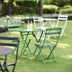 3-Pc Outdoor Garden Lawn Steel Folding Bistro Table Chairs Set Furniture Green
