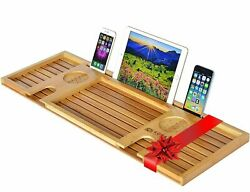 Natural Bamboo Bathtub Caddy Bath Serving Tray for 2 - Wood Accessories Set