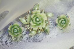 1960's Cathe Brooch & Earrings Set  AB Lucite Gold Tone Setting NICE $35.99