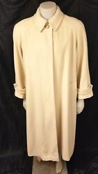 VNTG Neiman Marcus Womens Cream Regency Pure Cashmere Over Long Coat Sz 14 USA