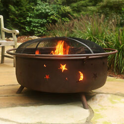 Large Outdoor Wood Burning Fire Pit  Spark Screen & Poker Included