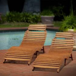 2 pk Wood Chaise Lounge Chair Outdoor Patio Pool Deck Furniture Folding Portable