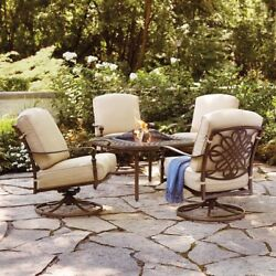 5-Pc Outdoor Patio Aluminum Fire Pit Conversation Chairs Set W Oatmeal Cushions