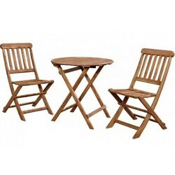 Folding Bistro Set Table & 2 Chairs Patio Outdoor 3 Piece Furniture Chair Garden