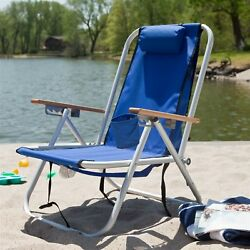 Royal Blue Beach Chair Recliner with Backpack Carrying Straps
