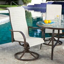 Set of 2 - Outdoor Patio Dining Chair with Swivel Rocker and Padded Sling Seat i