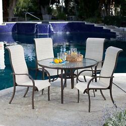 5-Piece Patio Furniture Dining Set with Round Table and 4 Padded Sling Chairs in