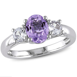 Women 925 Silver Jewelry Oval Cut Purple Amethyst Wedding Ring Size 6-10