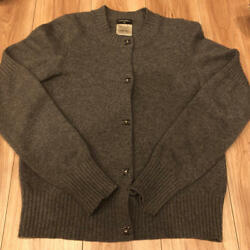 CHANEL Cashmere Cardigan Gray Size 36 Button Logo Shipping Free Japan