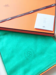 Hermes Plume Stole Shawl Scarf Cashmere Silk Blue Paon Women Auth New Rare w box