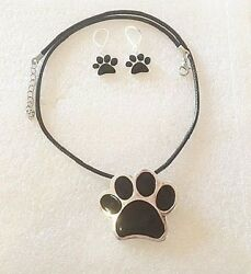 Black Paw Print Necklace + Earrings Pin  Silver-tone Dog Cat Black Cord