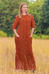 Orange cable dress hand knitted long merino wool gown fashion by SUPERTANYA