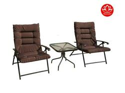 Chair Table Set Patio Outdoor Furniture Yard 3 Pc Padded Lounge Porch Gift New