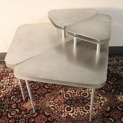 VTG Step Side Table Pair Aluminum Triangle Pick Mid Modern Space Atomic End $795.00