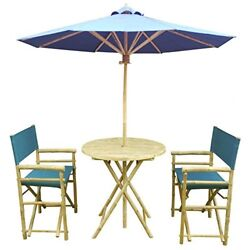 Zew 4 Piece Bamboo Bistro Garden Set with Round Table 2 Treated Director Canvas
