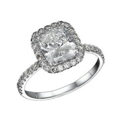 Diamond Engagement Ring Solitaire With Accents 2.25 ct 14K White Gold