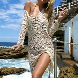 Women Bikini Cover Up Loose Beach Pareos Bathing Dress Geometric Fashion Crochet $29.87