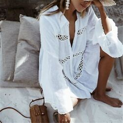 Women Bikini Cover Up Flare Sleeve Beach Pareo Fashion Deep V Neck Bathing Dress $33.99