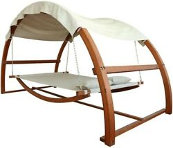 Patio Swing Bed Covered hammock Canopy Adjustable Height Beige Outdoor Furniture