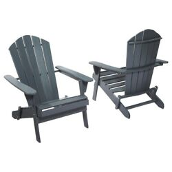 Graphite Folding Outdoor Adirondack Chair (2-Pack) Wood Terrace Garden Gray