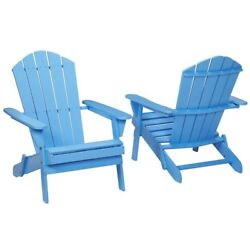 Periwinkle Folding Outdoor Adirondack Chair (2-Pack) Terrace Garden Blue Wood